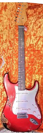 STRATOCASTER 1962 CANDY APPLE RED OVER 3 TONS SUNBURST RELIC